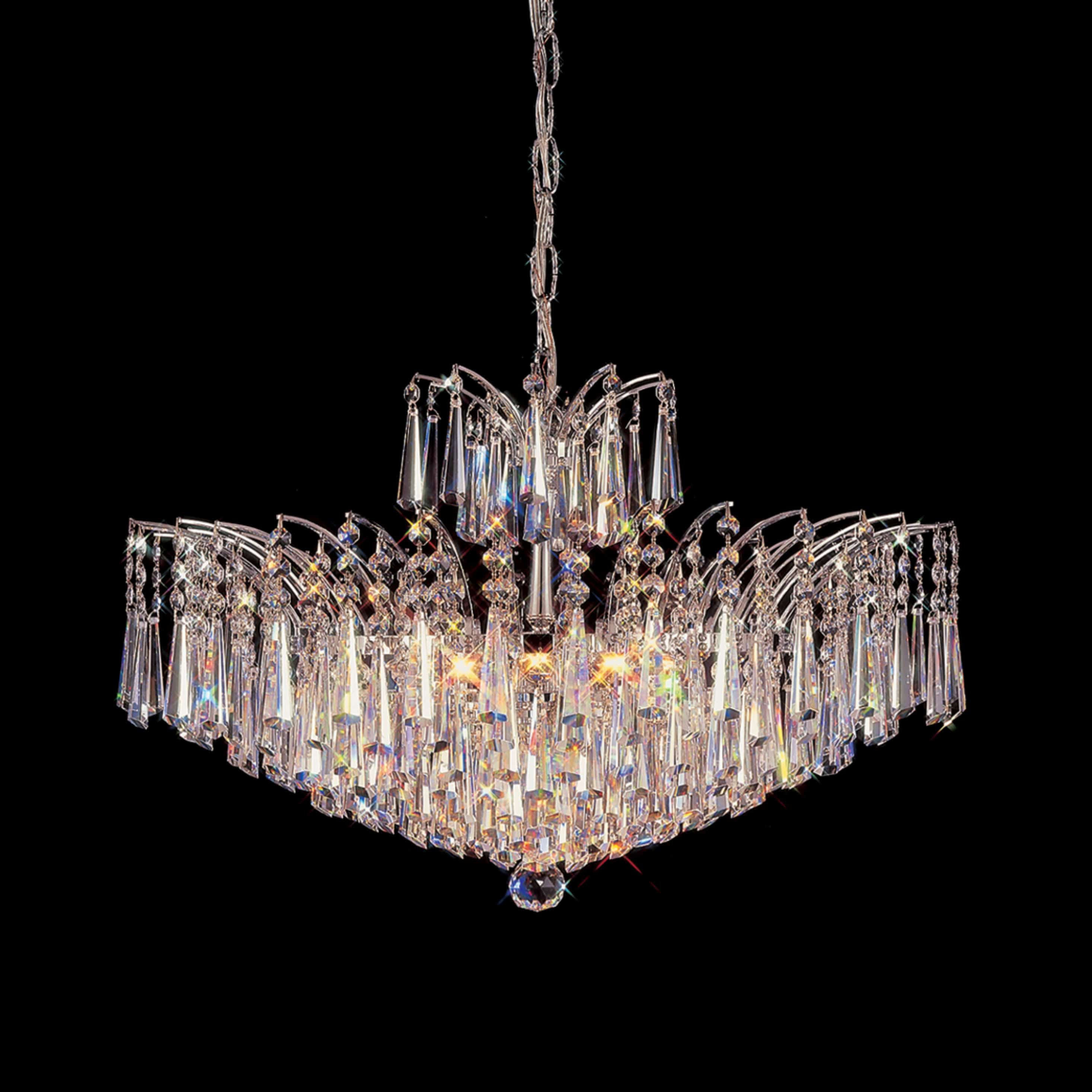 flamingo 24 inch hanging chandelier with clear crystal h 4033